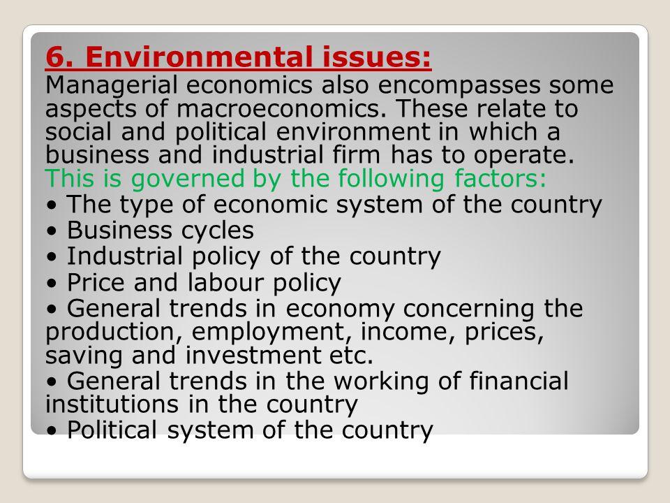 6. Environmental issues: