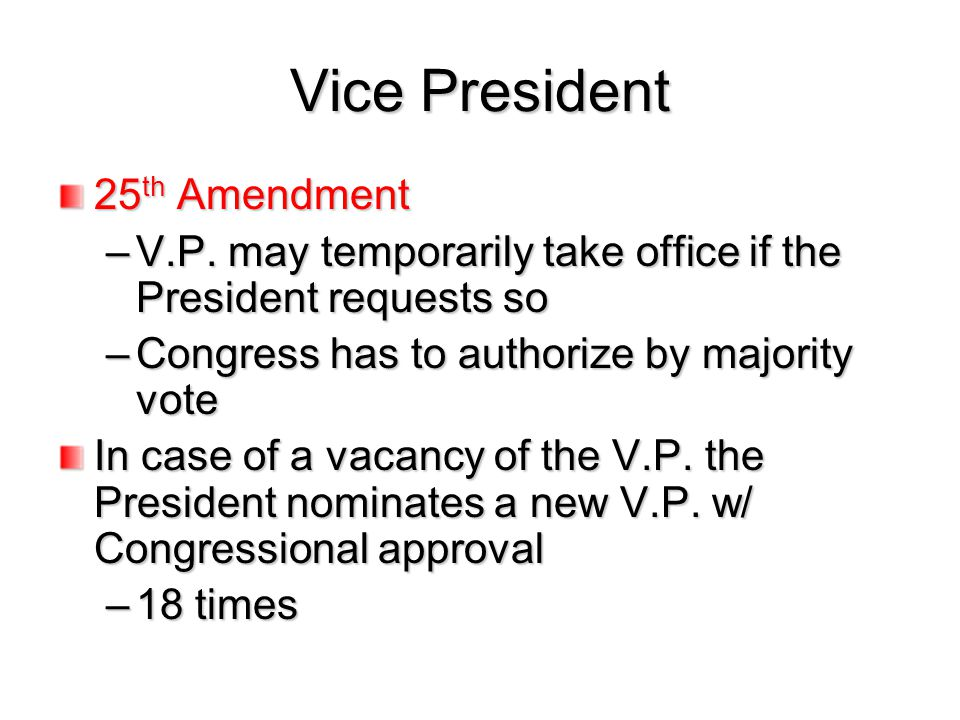 Vice President 25th Amendment