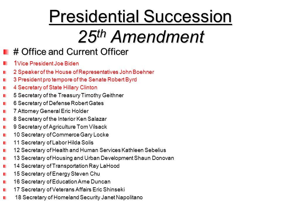 Presidential Succession 25th Amendment