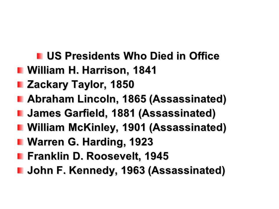 US Presidents Who Died in Office