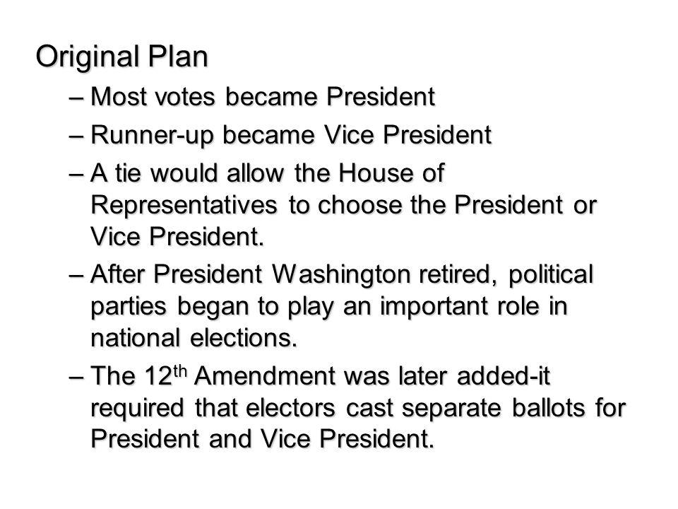 Original Plan Most votes became President