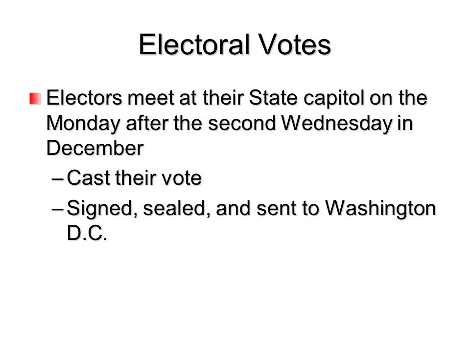 Electoral Votes Electors meet at their State capitol on the Monday after the second Wednesday in December.