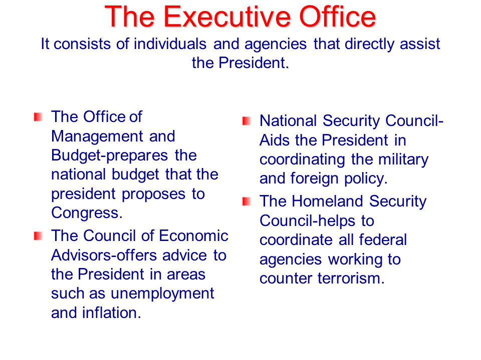 The Executive Office It consists of individuals and agencies that directly assist the President.