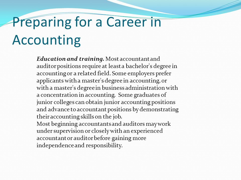 Preparing for a Career in Accounting