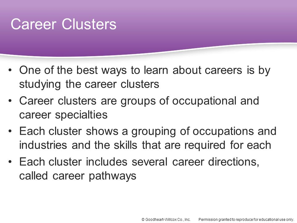 Career Clusters One of the best ways to learn about careers is by studying the career clusters.
