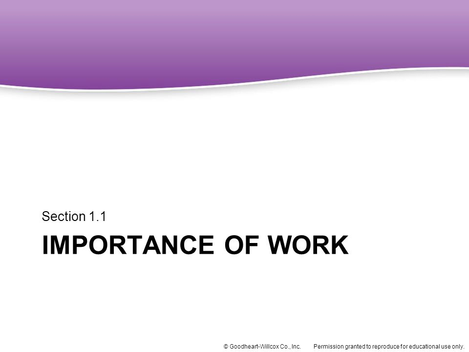 Section 1.1 Importance of Work