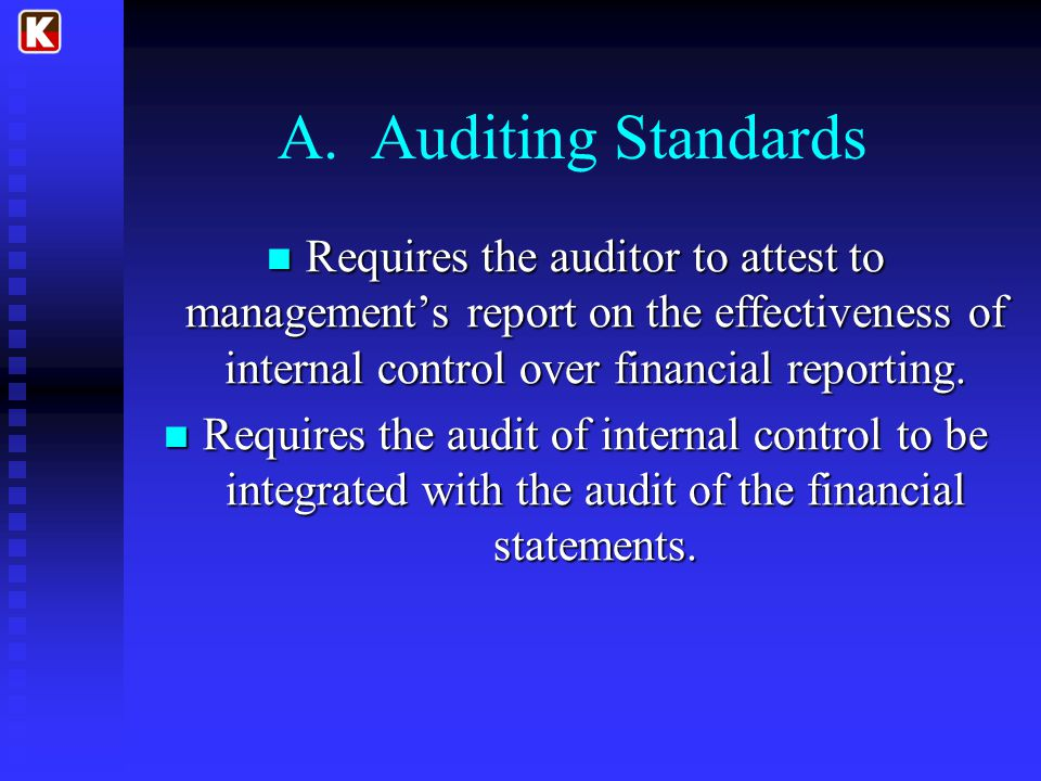 A. Auditing Standards Requires the auditor to attest to management's report on the effectiveness of internal control over financial reporting.