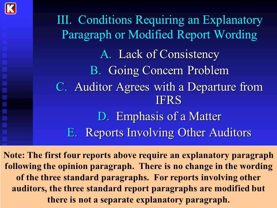 Auditor Agrees with a Departure from IFRS Emphasis of a Matter