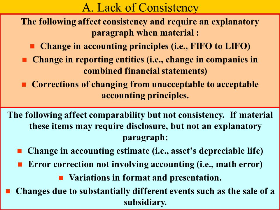 A. Lack of Consistency The following affect consistency and require an explanatory paragraph when material :