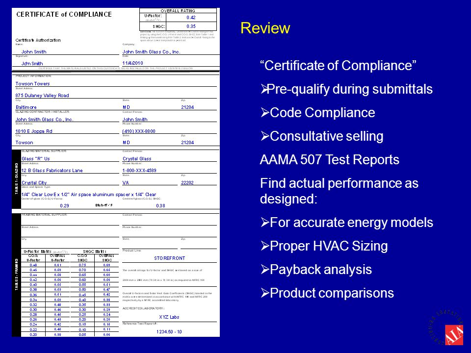 Review Certificate of Compliance Pre-qualify during submittals