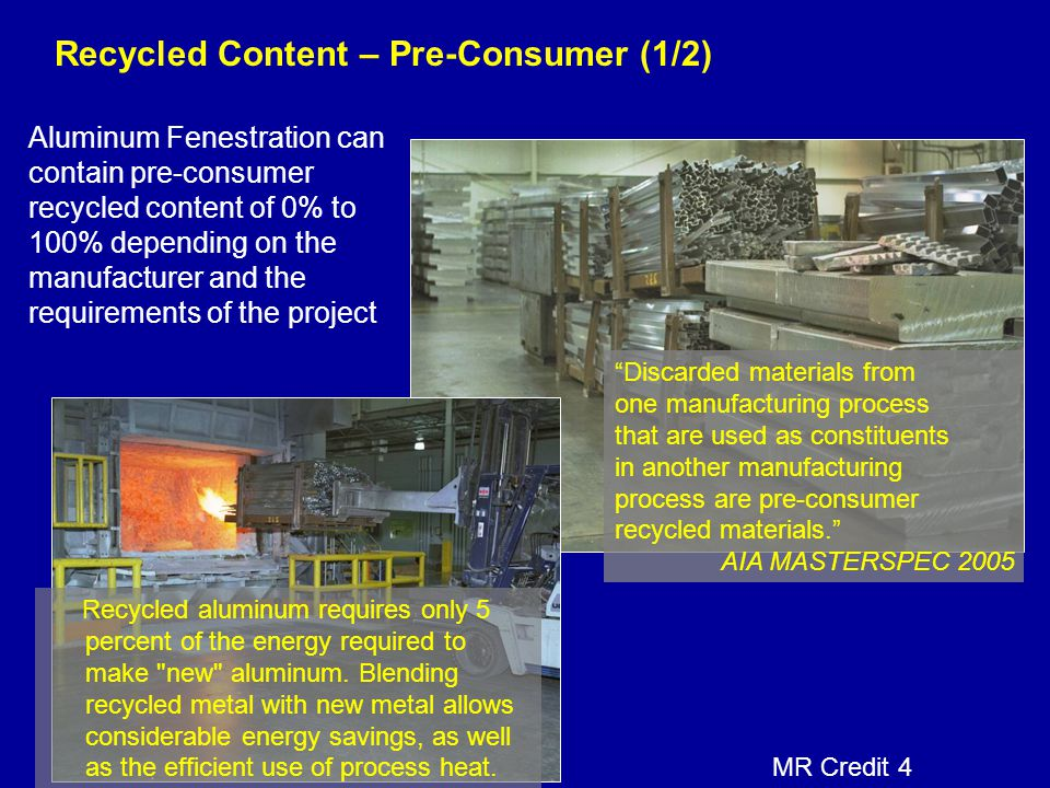 Recycled Content – Pre-Consumer (1/2)