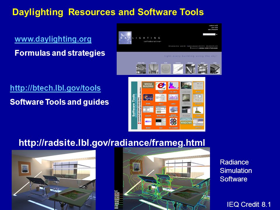 Daylighting Resources and Software Tools