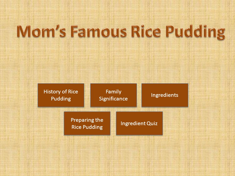Mom's Famous Rice Pudding