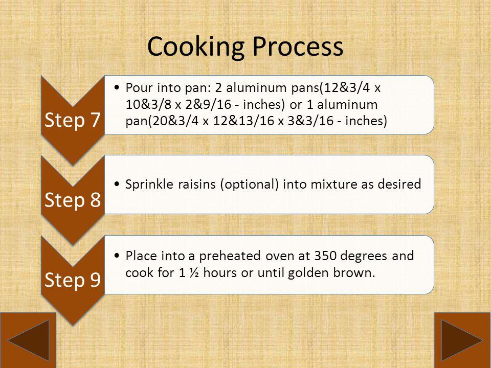 Cooking Process Step 7 Step 8 Step 9