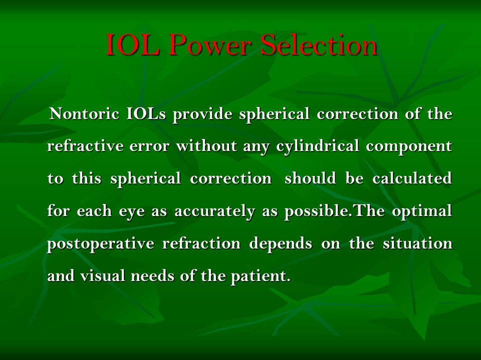 IOL Power Selection