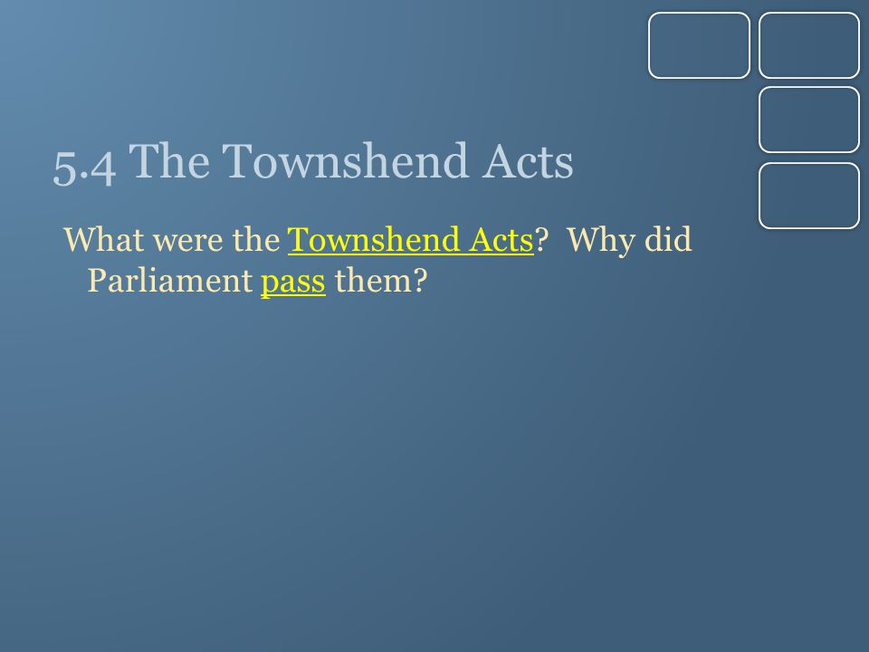 5.4 The Townshend Acts What were the Townshend Acts Why did Parliament pass them