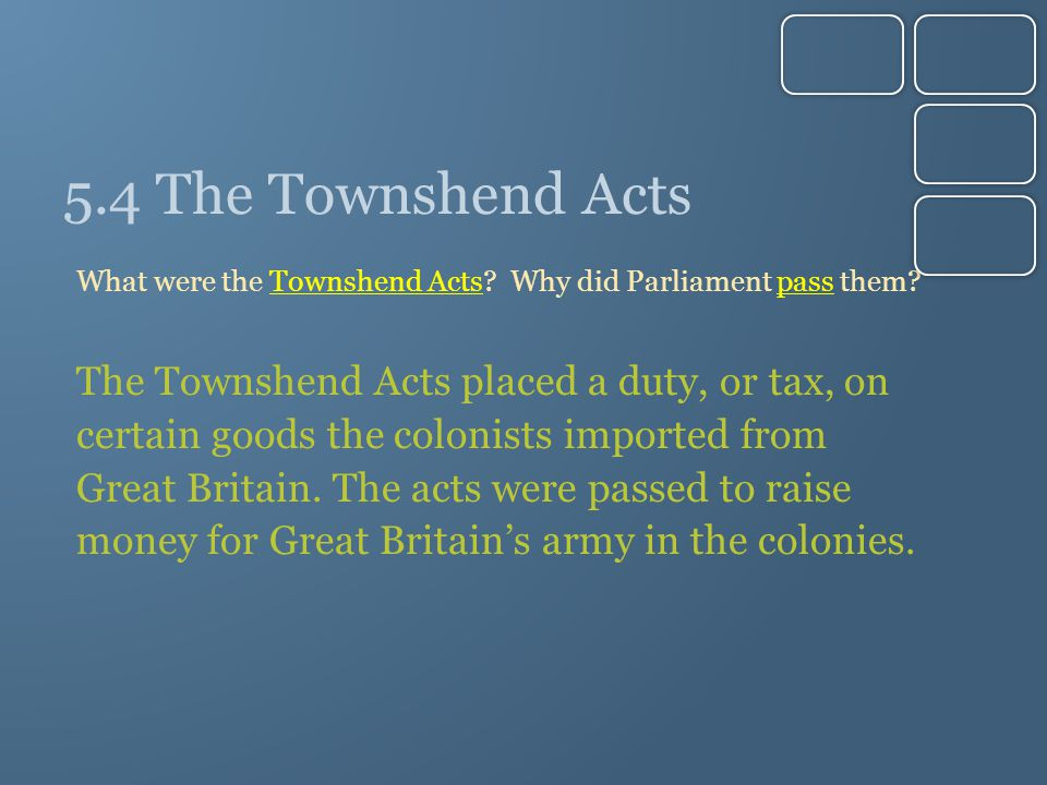 5.4 The Townshend Acts The Townshend Acts placed a duty, or tax, on