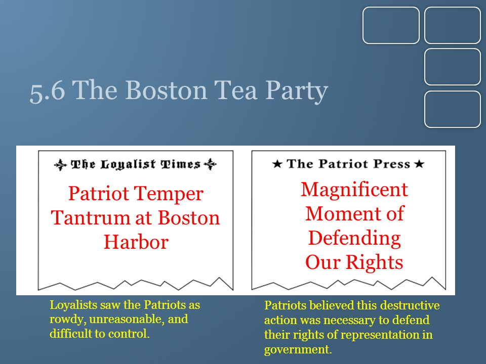 5.6 The Boston Tea Party Magnificent Moment of Defending