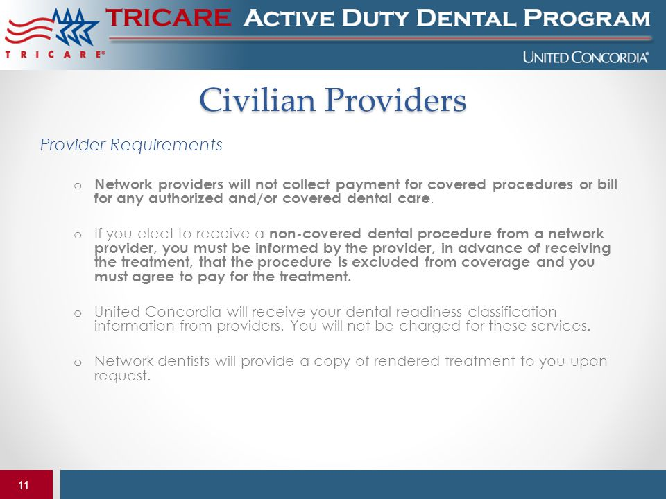 Civilian Providers Provider Requirements