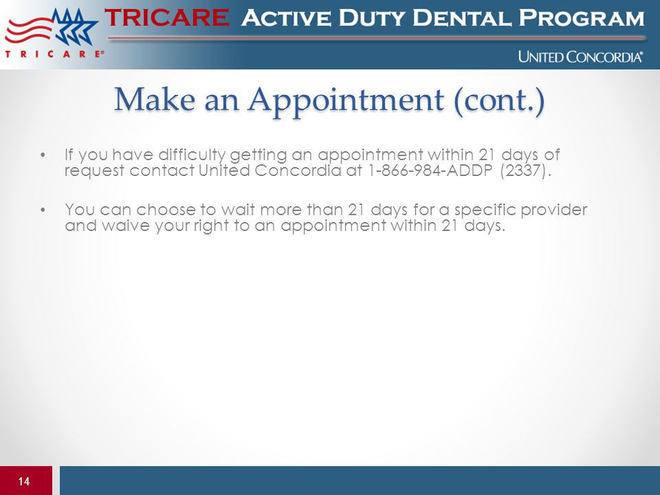 Make an Appointment (cont.)