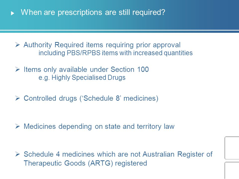 When are prescriptions are still required