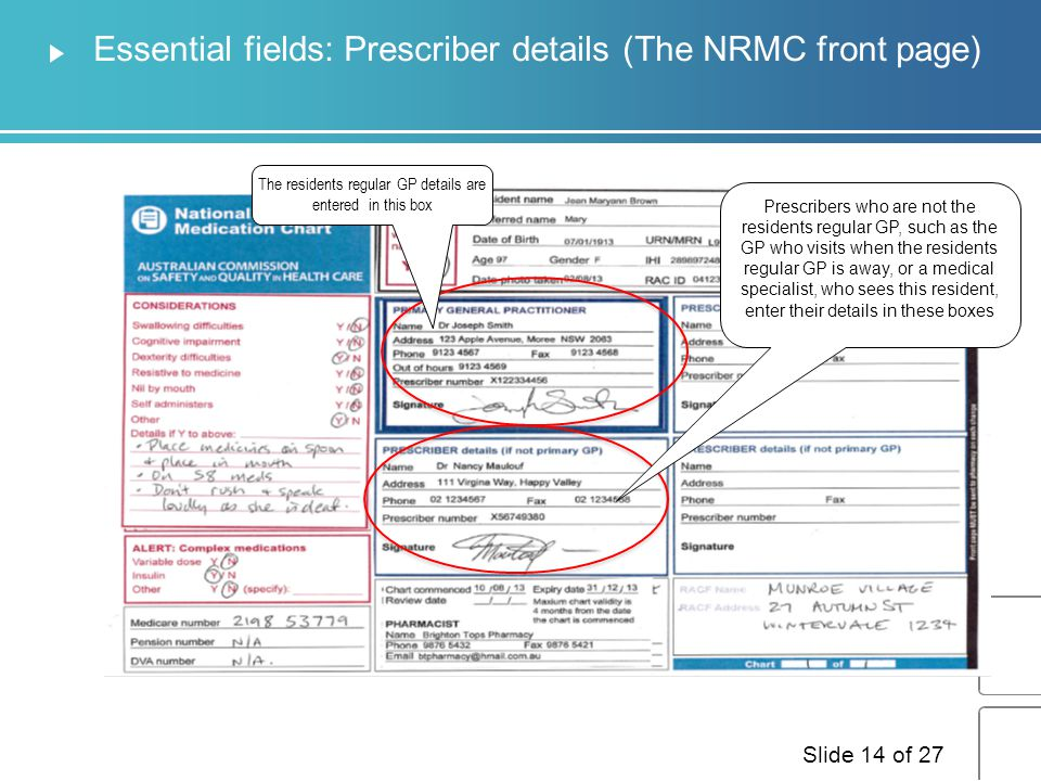Essential fields: Prescriber details (The NRMC front page)