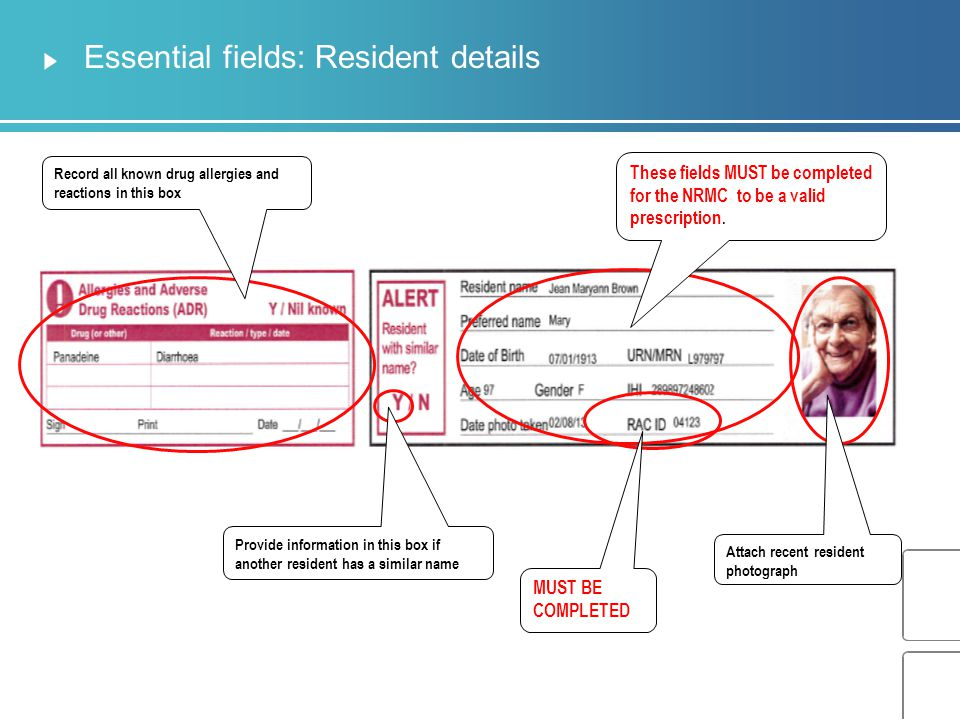 Essential fields: Resident details