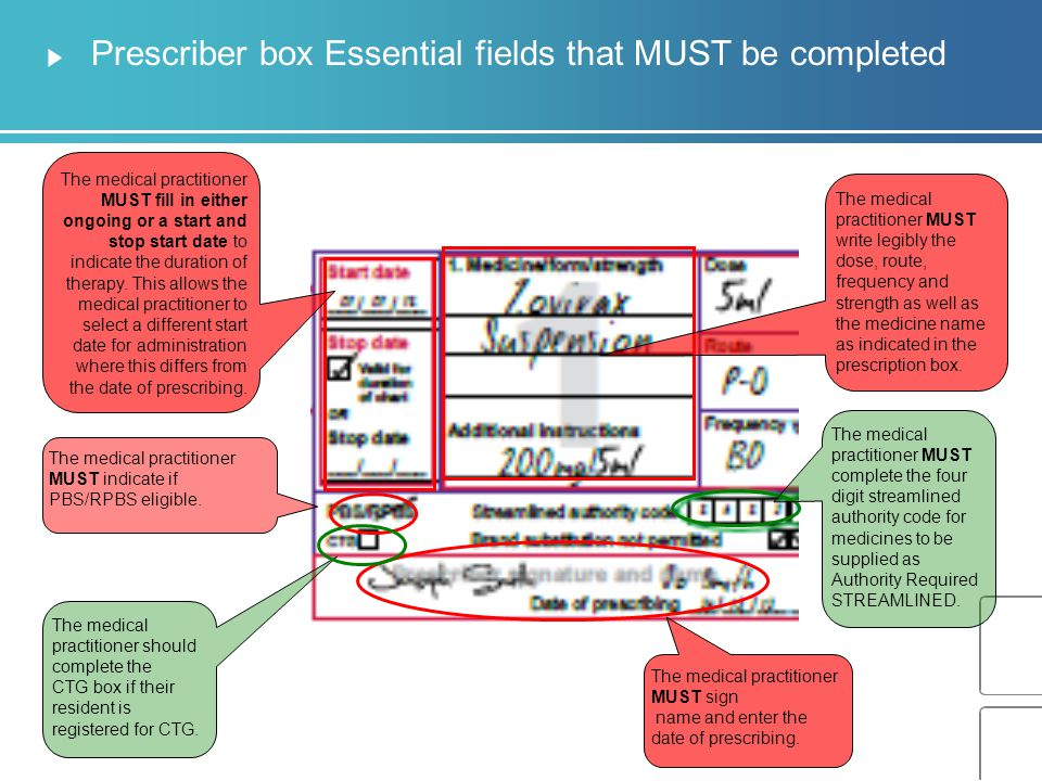Prescriber box Essential fields that MUST be completed