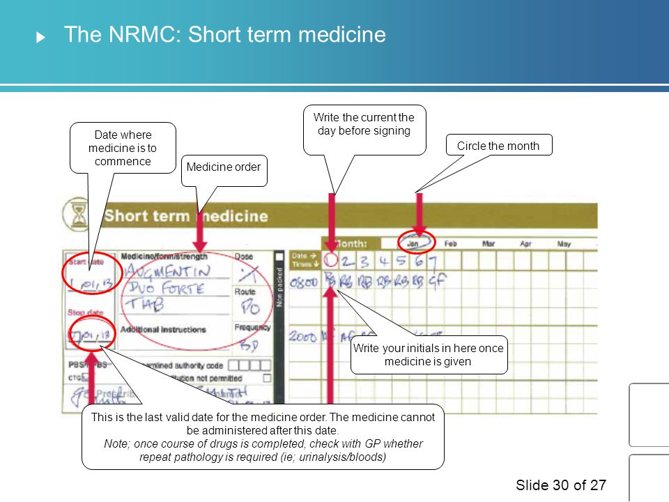 The NRMC: Short term medicine