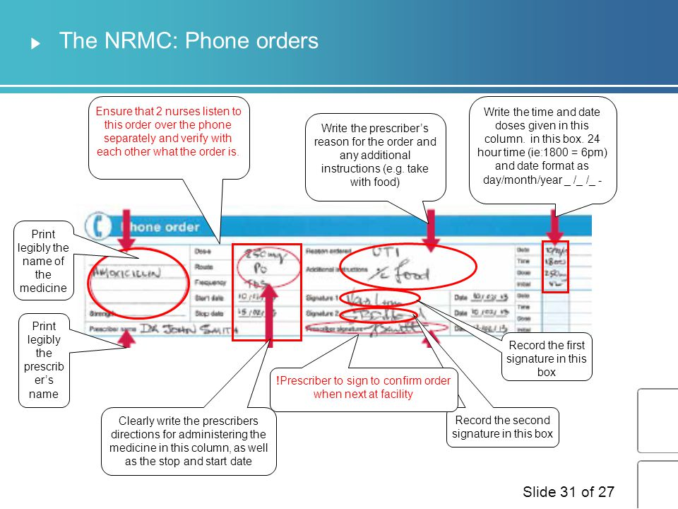 The NRMC: Phone orders Ensure that 2 nurses listen to this order over the phone separately and verify with each other what the order is.