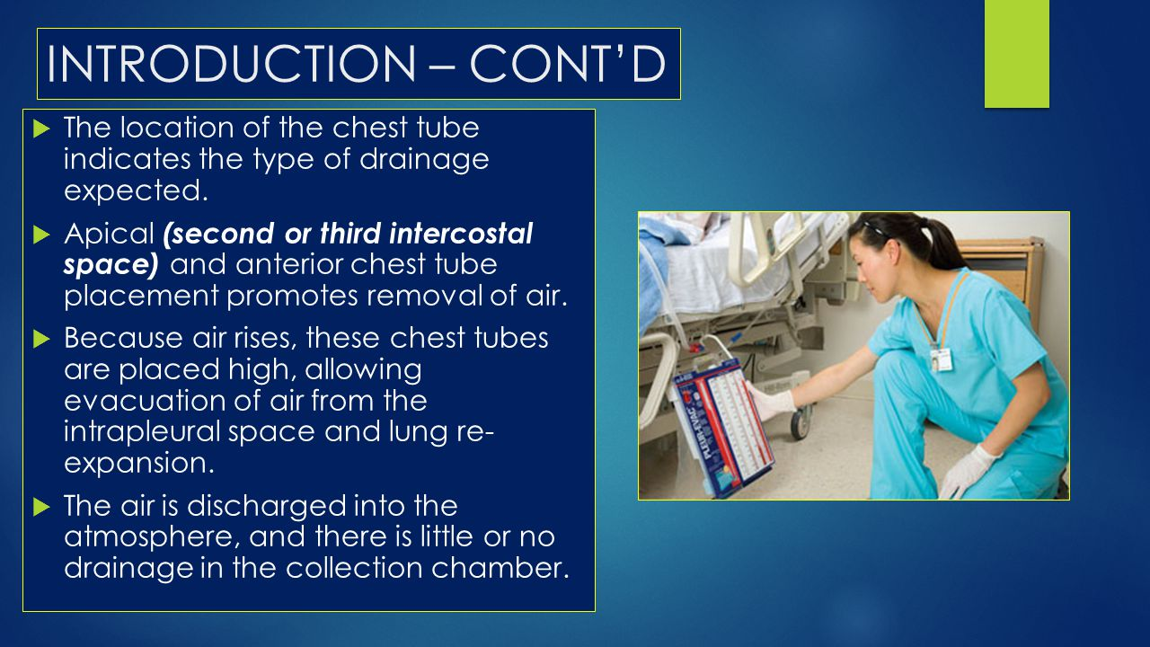 INTRODUCTION – CONT'D The location of the chest tube indicates the type of drainage expected.