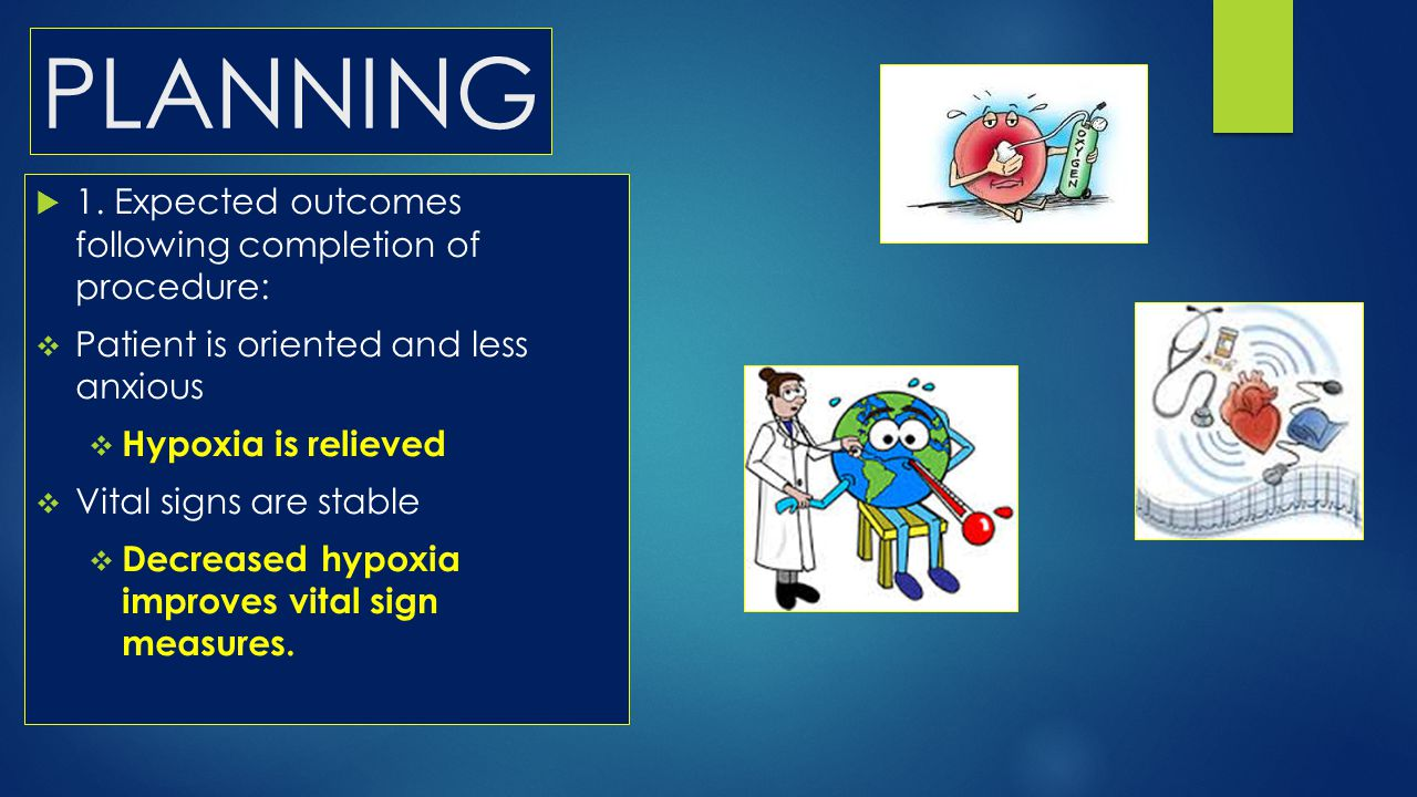 PLANNING 1. Expected outcomes following completion of procedure: