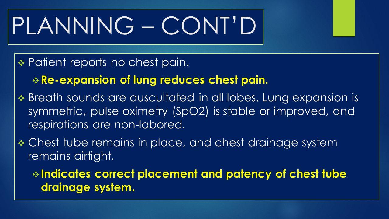 PLANNING – CONT'D Patient reports no chest pain.