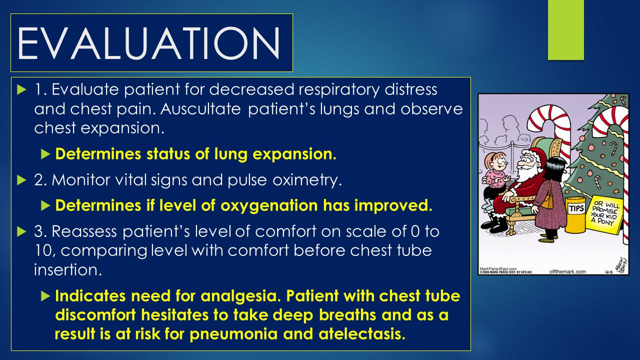 EVALUATION 1. Evaluate patient for decreased respiratory distress and chest pain. Auscultate patient's lungs and observe chest expansion.