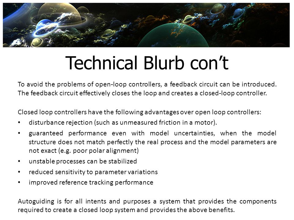 Technical Blurb con't