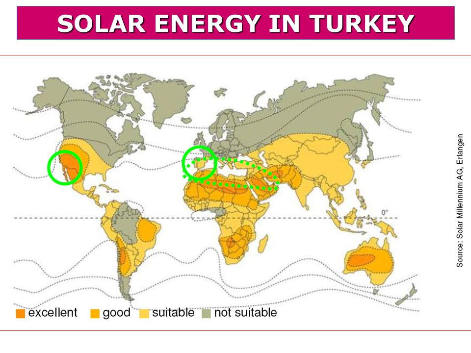 SOLAR ENERGY IN TURKEY The biggest renewable energy source in Turkey is solar energy.