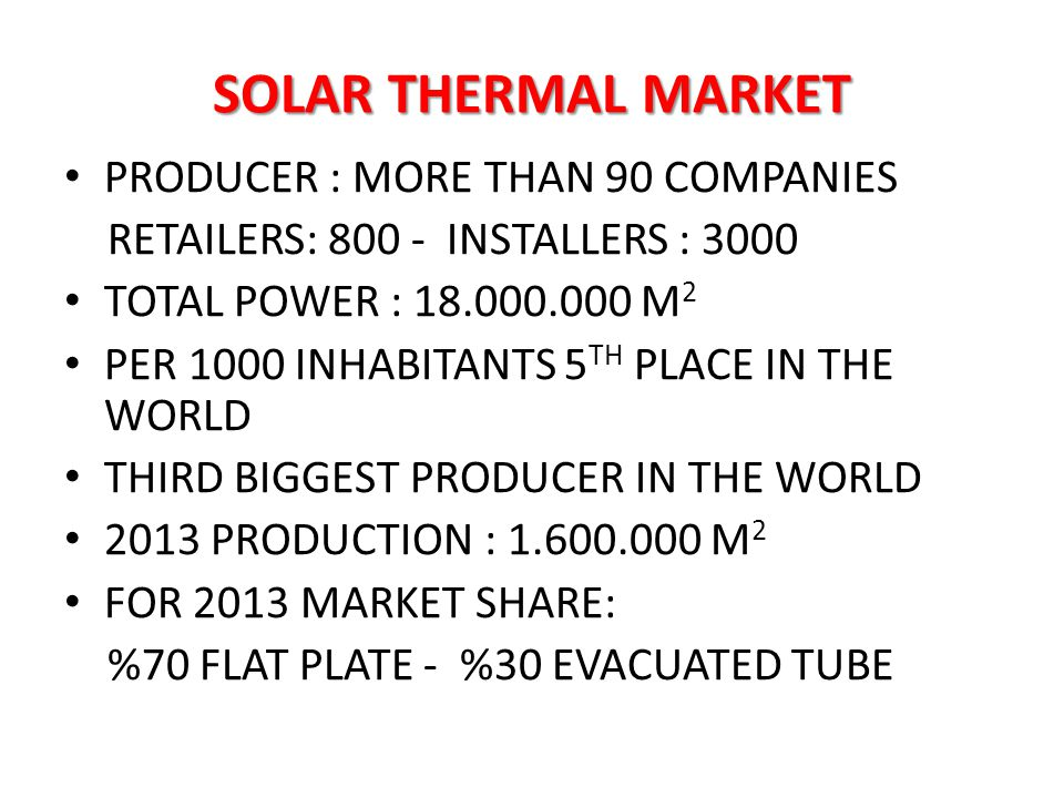 SOLAR THERMAL MARKET PRODUCER : MORE THAN 90 COMPANIES