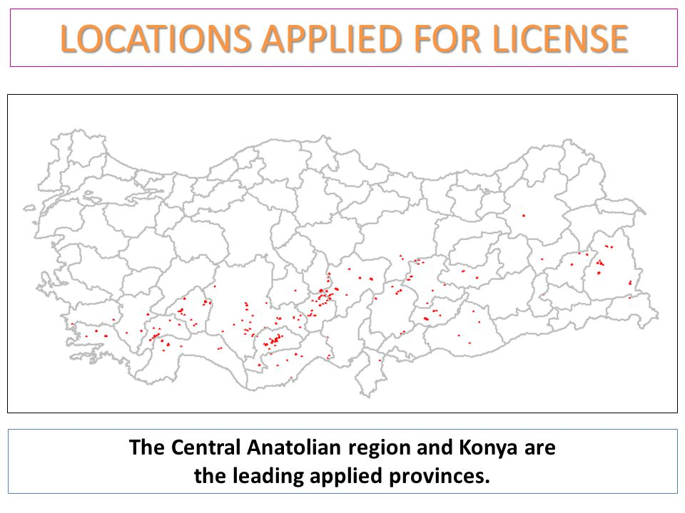 LOCATIONS APPLIED FOR LICENSE