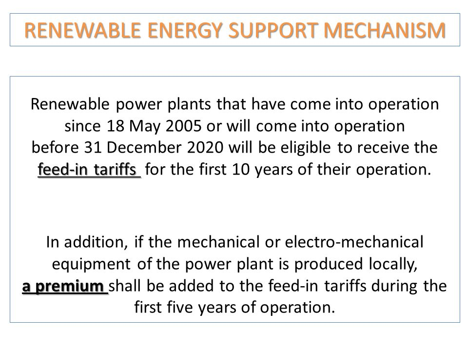 RENEWABLE ENERGY SUPPORT MECHANISM