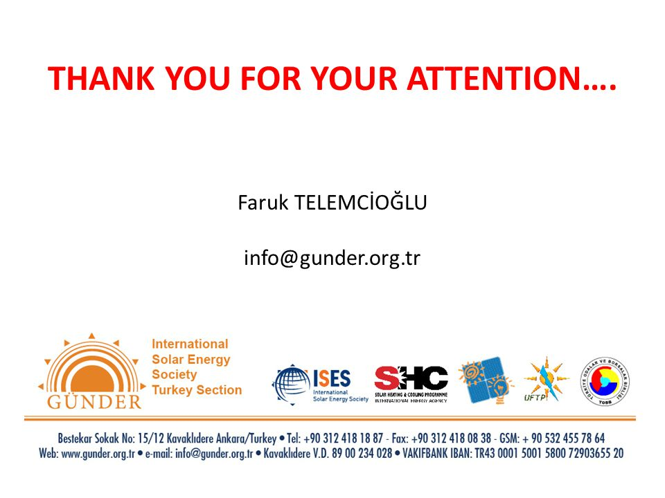 THANK YOU FOR YOUR ATTENTION…. Faruk TELEMCİOĞLU info@gunder.org.tr
