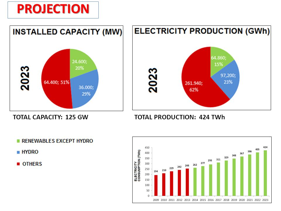 PROJECTION TOTAL CAPACITY: 125 GW TOTAL PRODUCTION: 424 TWh
