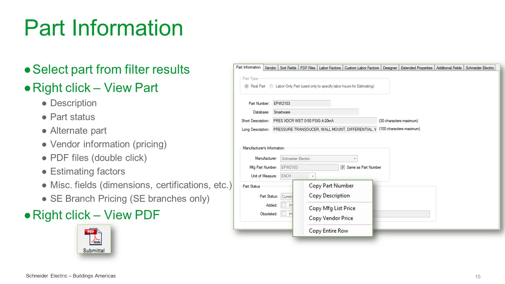 Part Information Select part from filter results