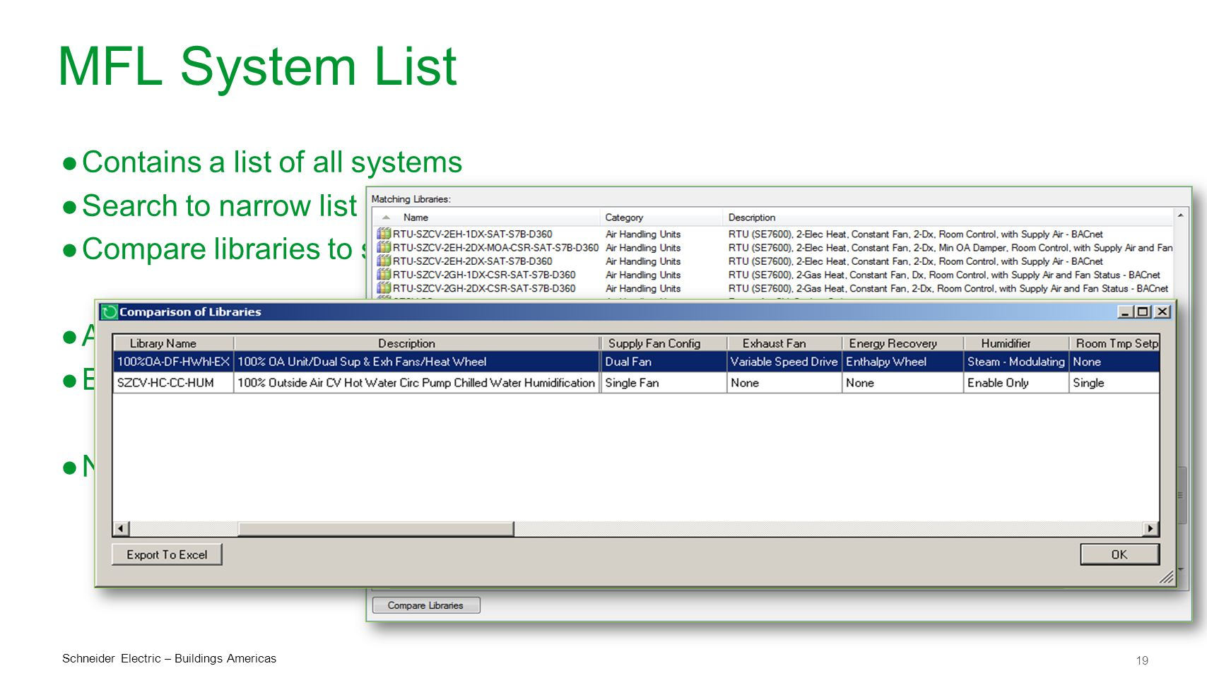 MFL System List Contains a list of all systems Search to narrow list