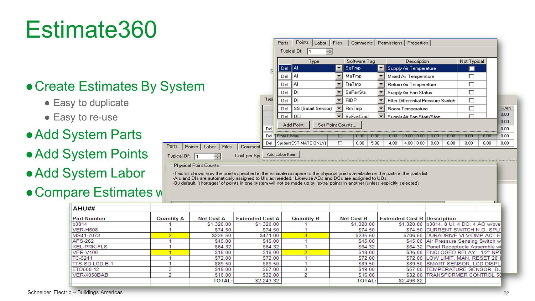 Estimate360 Create Estimates By System Add System Parts