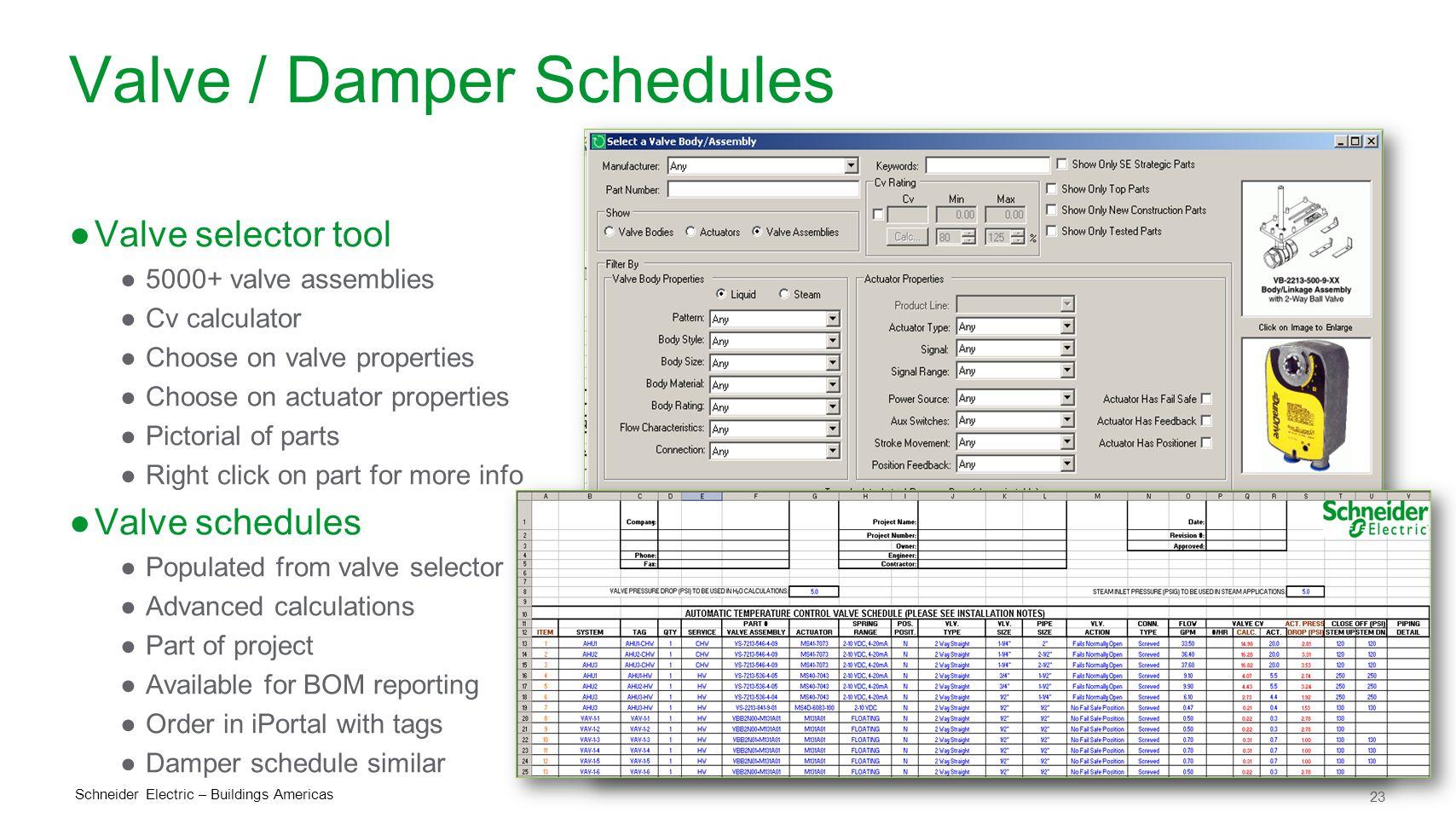 Valve / Damper Schedules