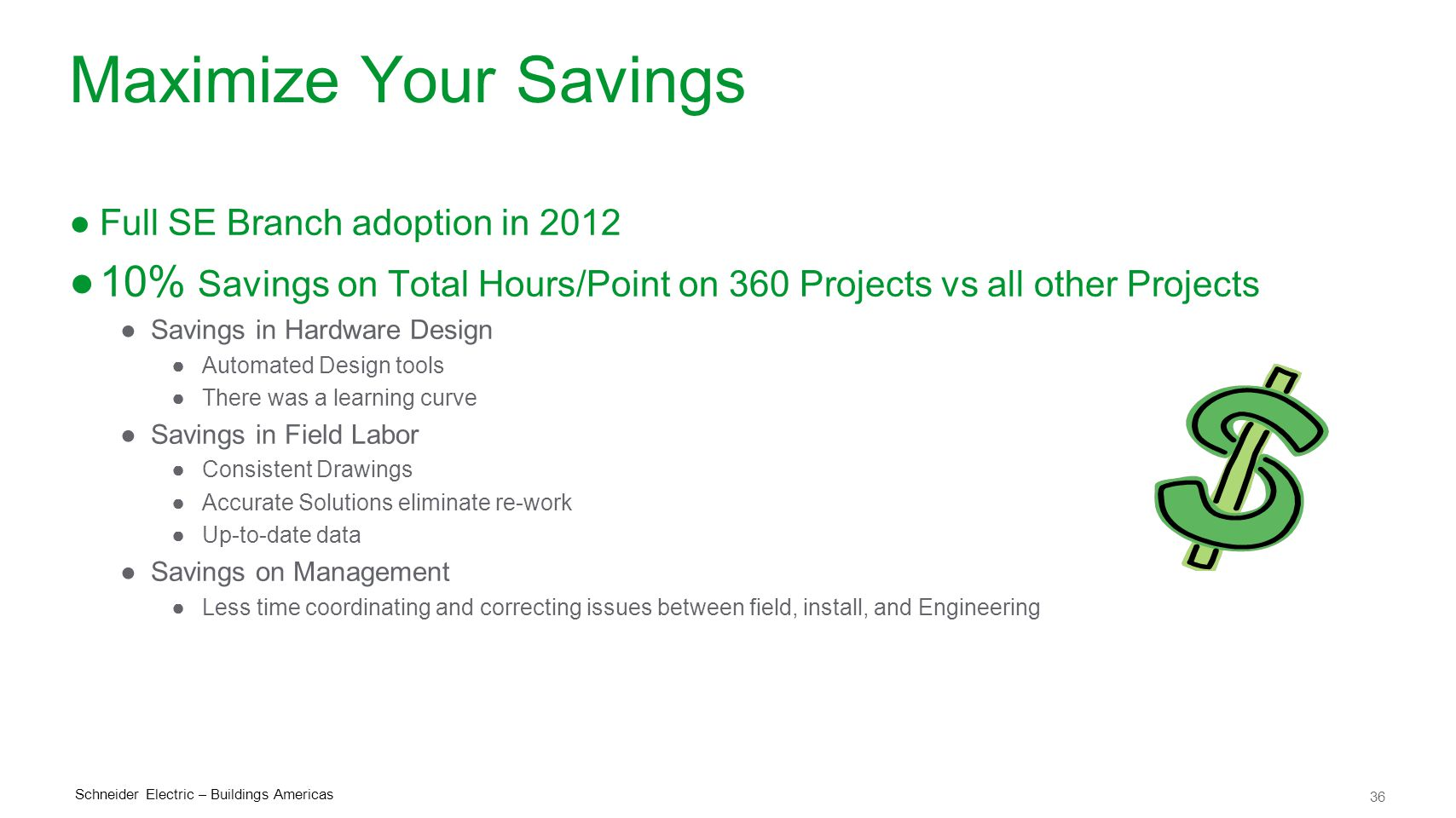 Maximize Your Savings Full SE Branch adoption in 2012. 10% Savings on Total Hours/Point on 360 Projects vs all other Projects.