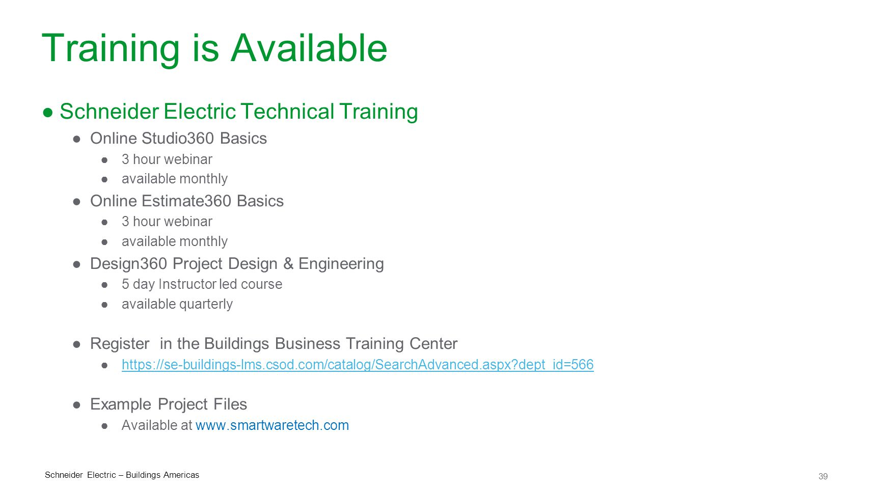 Training is Available Schneider Electric Technical Training