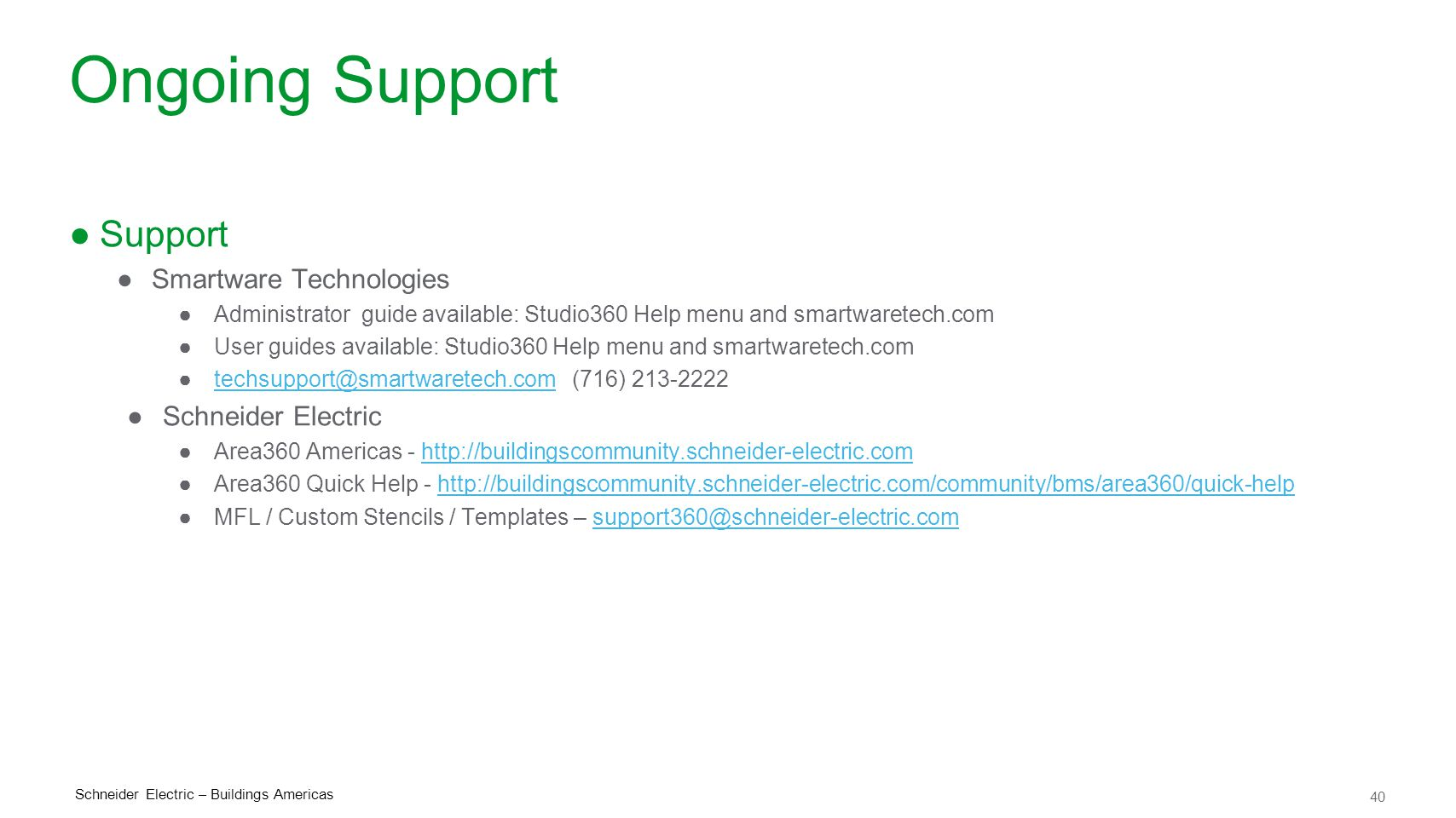 Ongoing Support Support Smartware Technologies Schneider Electric
