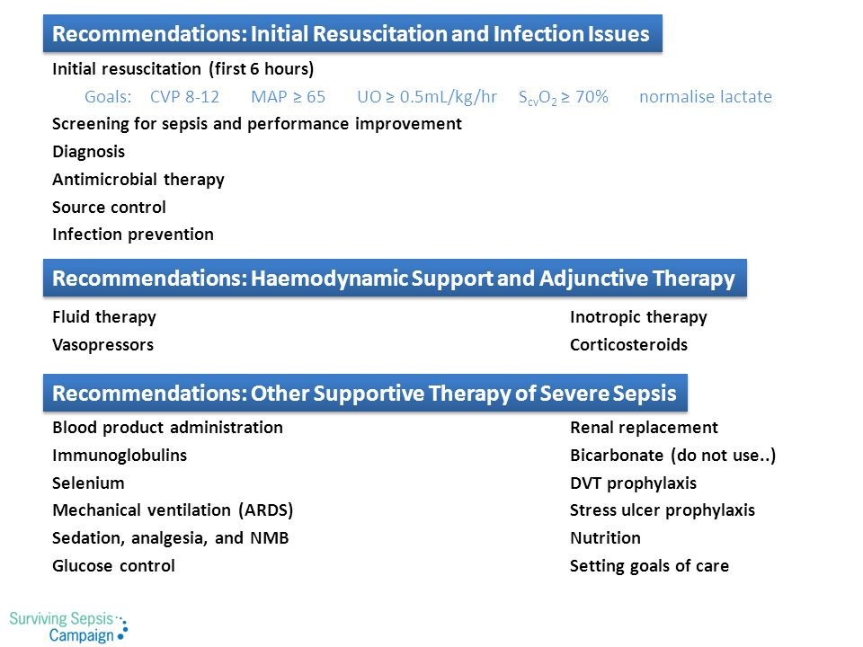 Recommendations: Initial Resuscitation and Infection Issues