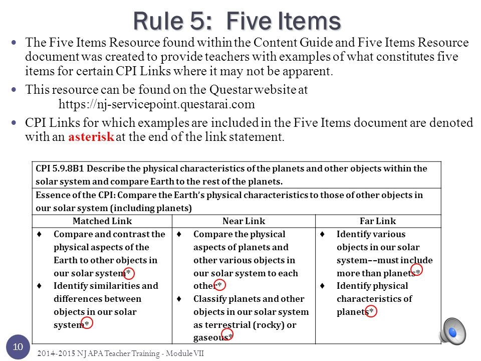 Rule 5: Five Items